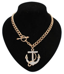 Fashion Women Jewelry Luxury Gold Chain Rhinestone Crystal Anchor Pendant Necklace For Bijoux Wholesale