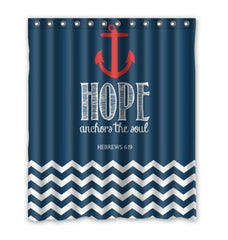 Custom Hope Theme Anchor Shower Curtain Waterproof Polyester Fabric Shower Curtain Size 150x180cm L-14