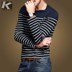 New Arrival! 100% Cotton Casual T-Shirt Men Casual Outdoor Stripe Long Sleeve Men's Clothing Tshirt  A0961