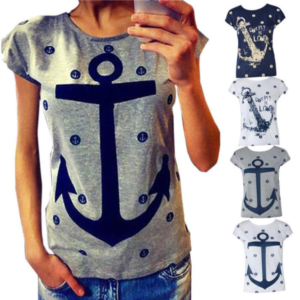 2016 Summer Fashion Tops Letter Print Anchor Slim Casual Shirts Clothes for women