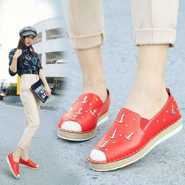 new arrival 2016 anchor rivet women flats shoes woman spring fashion platform women loafers slip on casual fisherman straw shoes