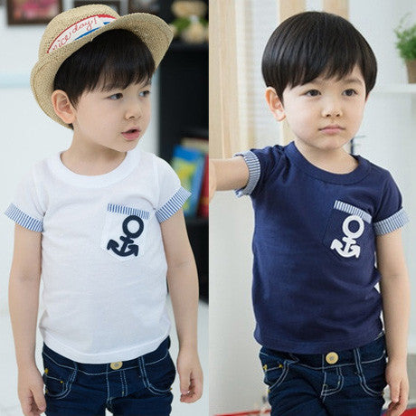 Baby anchor short-sleeve basic shirt 2015 summer children t shirt Boys clothes O-neck Cotton vetement garcon Boys tees tops