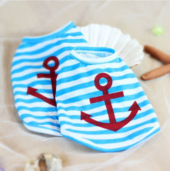 Blue Stripe Anchor Puppy Dog Clothes Summer T-shirt for Dog Vest Cat Clothes 100% Cotton Soft XXS Small Dog Pet Clothes Retail