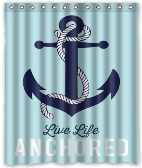 High Quality New Sailor Anchor Shower Curtain 12 holes to which rings attach 60