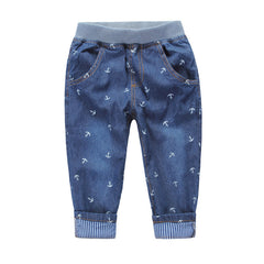 Retail,New Arrival 2015 Spring Kids Jeans Fashion For Boys And Girls High Quality Anchor Print Pattern Jeans Casual Jeans