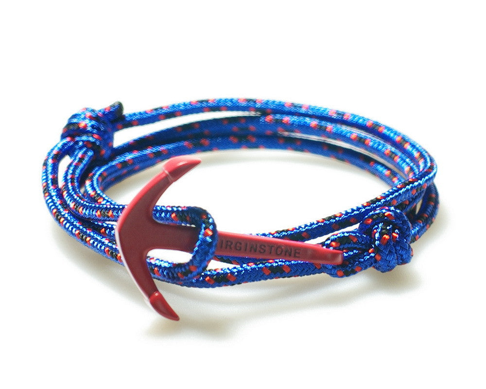 New Virginstone Red Anchor Fengshui Colorful Nylon Rope Maisai Style Nautical  Bracelet In Box Men Women