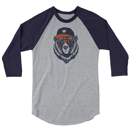 Bear Head - Hat - Chicago Bears - 3/4 Sleeve