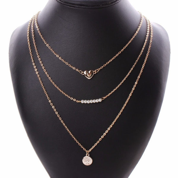 14K Gold-Plated Trio Necklace - BellaBijoux