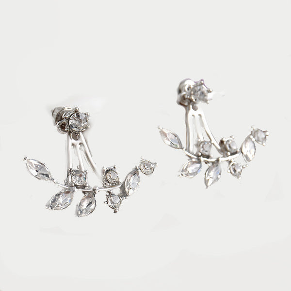 Crystal Ear Jackets - Silver Branches