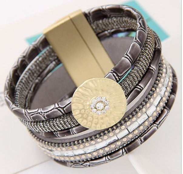 Bamboo Leather and Crystal Wrap Bracelet - BellaBijoux
