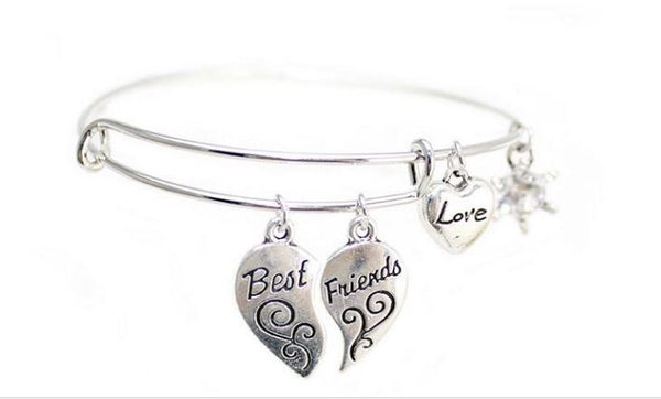 "Charms ""Best Friends"" Adjustable Friendship Bracelet"