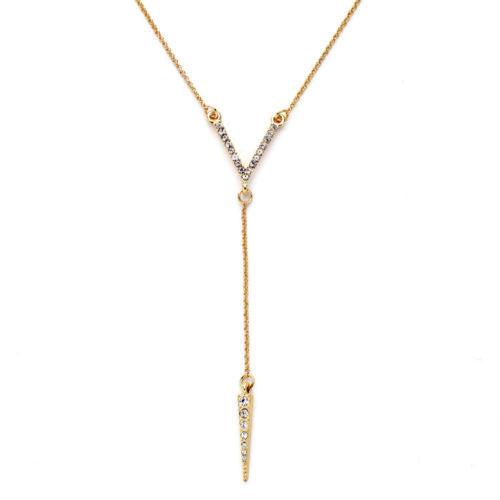 Spike Crystal Drop Gold  Y Pendant - BellaBijoux