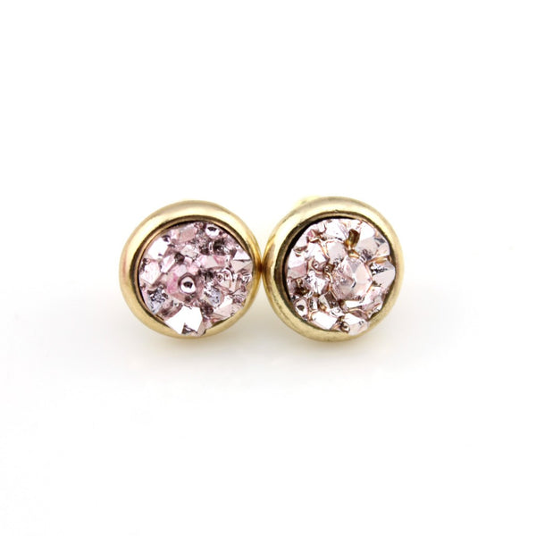 DD Mermaid Druzy Crystal Earrings - Champagne Pink