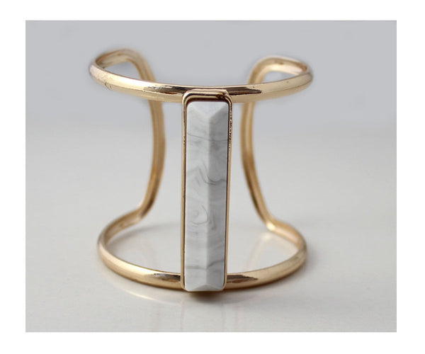 White Turquoise Stone Bangle - BellaBijoux