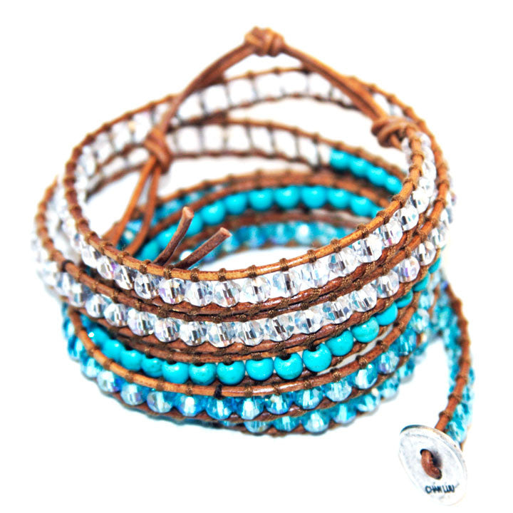 Genuine Turquoise and Crystal Leather 5 Wrap Bracelet - BellaBijoux
