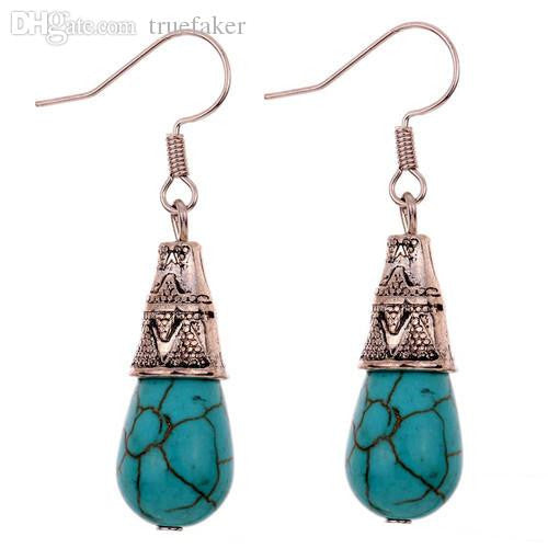 Tibetan Silver Turquoise Drop Earrings - BellaBijoux