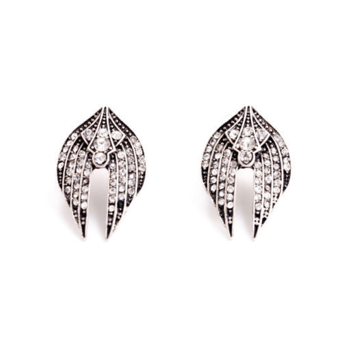 Angel Wings Vintage Silver Earrings - BellaBijoux