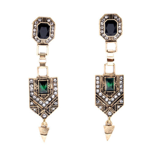 Art Deco Emerald Spike Drop Earrings