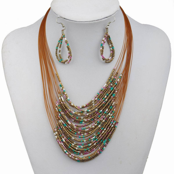 Au Naturale | Beaded  Layers Necklace and Earring Set - BellaBijoux
