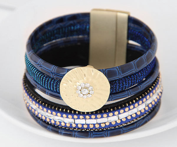 Bamboo Leather and Crystal Wrap Bracelet (cobalt blue)