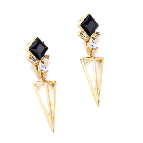 Bianca Black and Gold Dangle Earrings - BellaBijoux