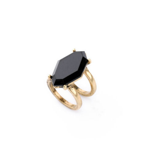 Bianca Black and Gold Ring Set - BellaBijoux