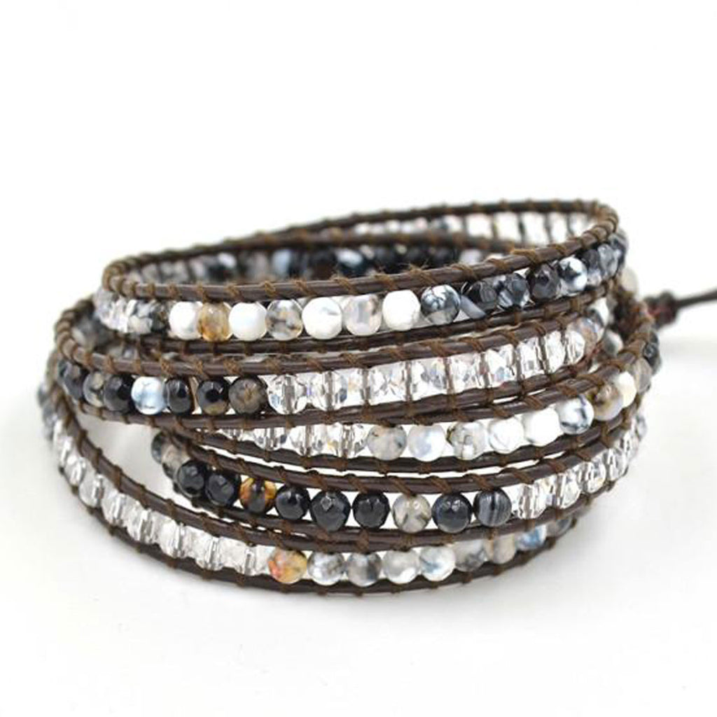 Natural agate stone and crystal leather wrap bracelet - BellaBijoux