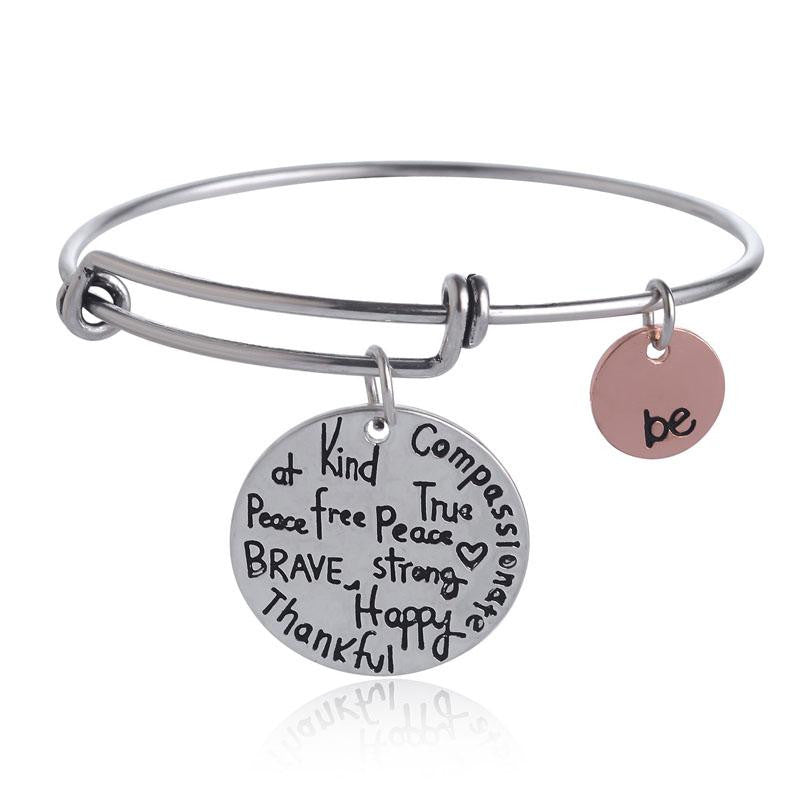 "Charms  ""Be...""  Inspirational Message Adjustable Bracelet"