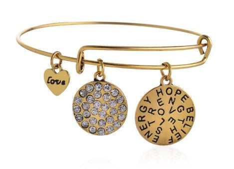 Charms Inspirational Gold and Crystal Bangle - BellaBijoux