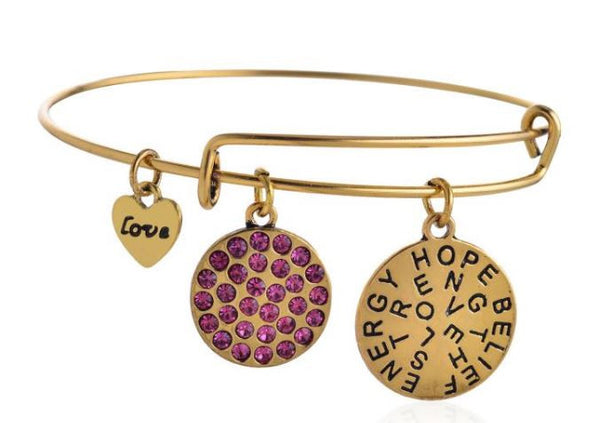 Charms Inspirational Gold and Magenta Crystal Bangle - BellaBijoux
