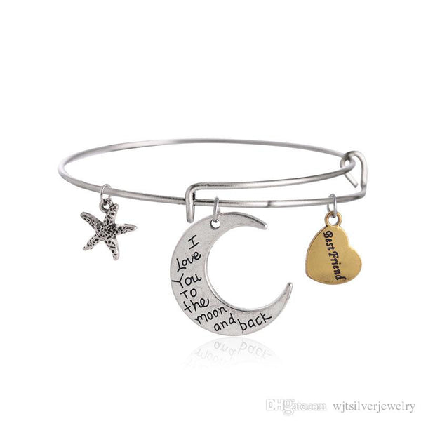 "Charms  ""love you to the moon and back""  Adjustable Friendship Bracelet - BellaBijoux"