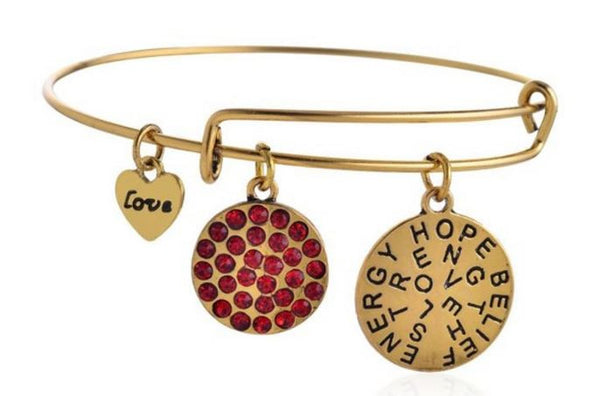 Charms Inspirational Gold and  Ruby Crystal Bangle - BellaBijoux