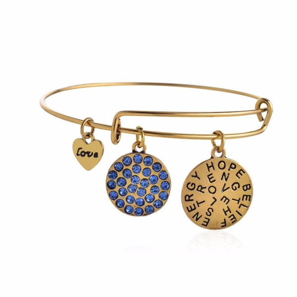 Charms Inspirational Gold and Sapphire Crystal Bangle