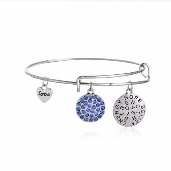 Charms Inspirational Silver and Sapphire Crystal Bangle