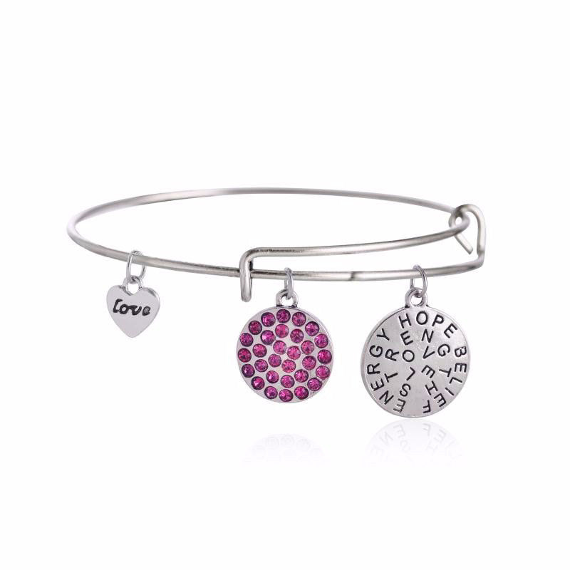 Charms Inspirational Silver and Magenta Crystal Bangle - BellaBijoux