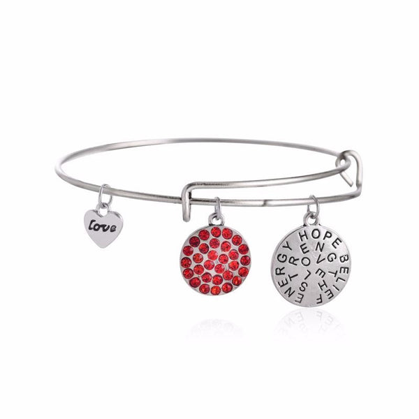 Charms Inspirational Silver and Ruby Crystal Bangle - BellaBijoux
