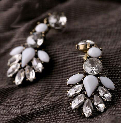 Vintage Crystal and White Drop Earrings - BellaBijoux