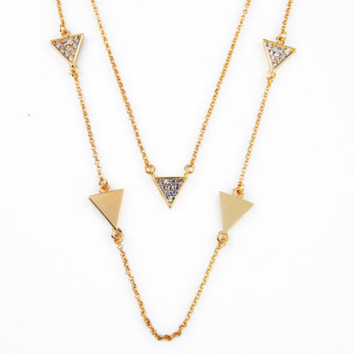 Glitz n Gold 2 in 1 Triangle Necklace - BellaBijoux