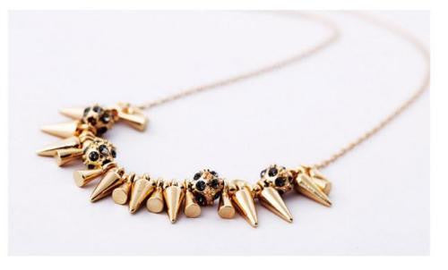 Gold Spike and Ball Necklace - BellaBijoux