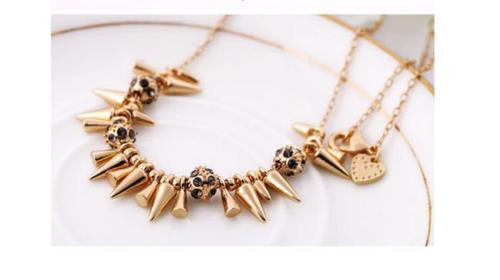 Gold Spike and Ball Necklace