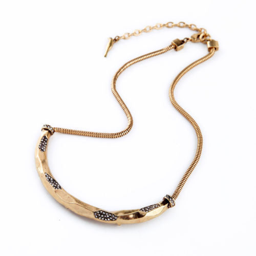 Gold Crescent Moon and Stars Necklace