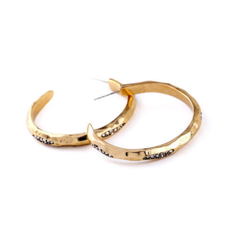 Gold Hammered Hoop Earrings - BellaBijoux