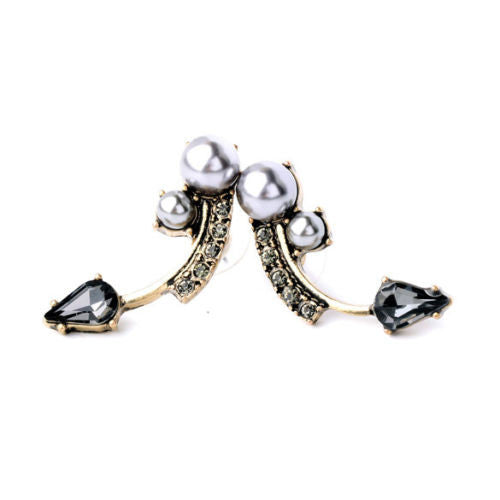 Gray Pearl and Crystal Stud Earrings - BellaBijoux