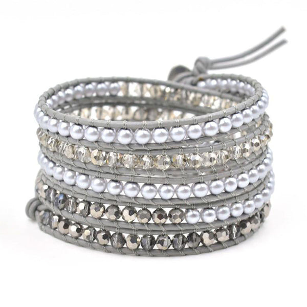 Gray Pearl and Crystal Wrap Bracelet - BellaBijoux
