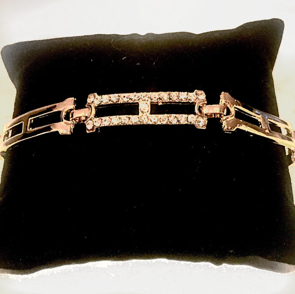 14k gold plated double bar bracelet