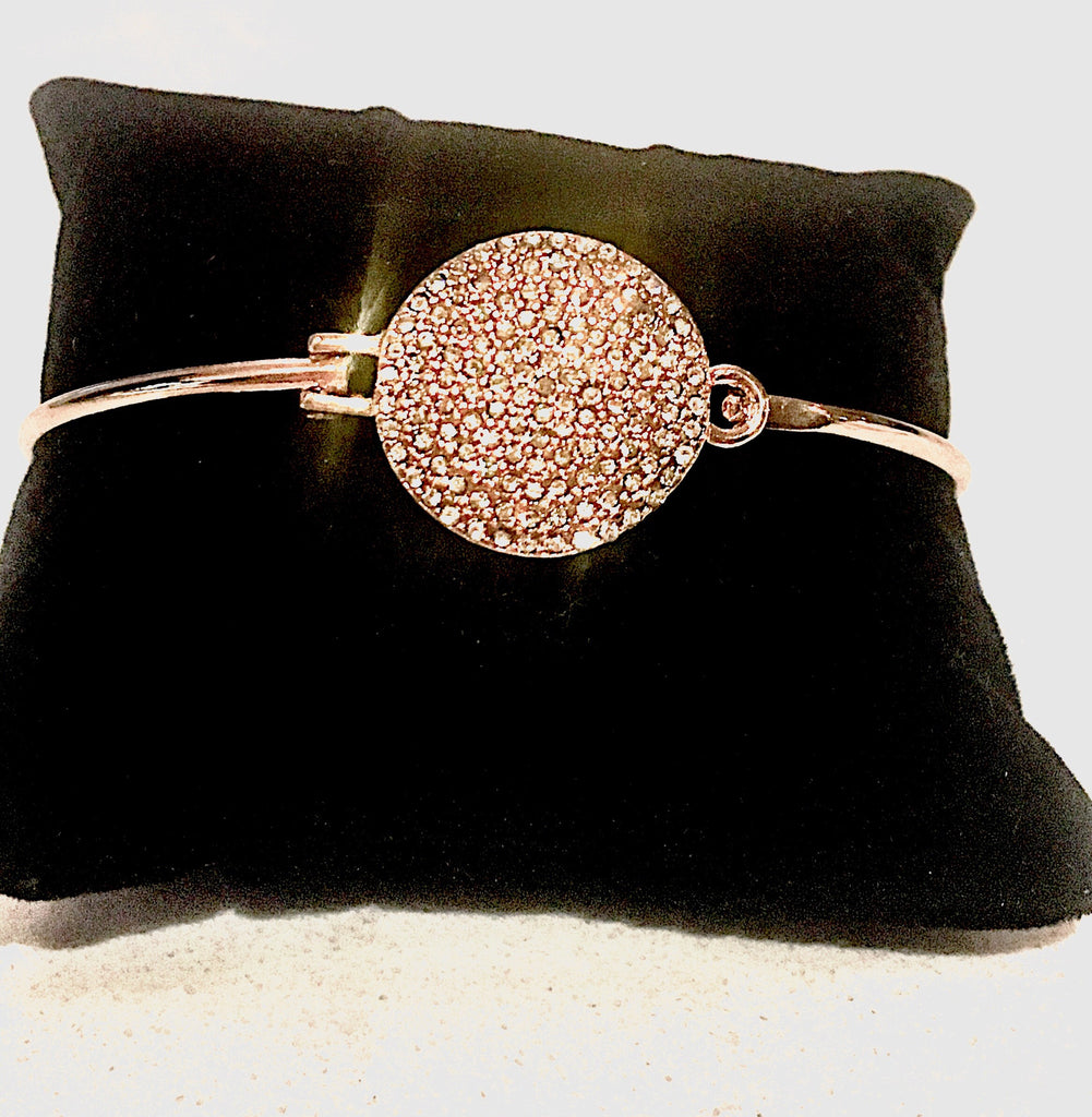 14k gold and crystal disc pendant bangle