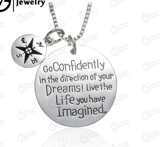 """Dreams"" Inspirational message necklace - silver"
