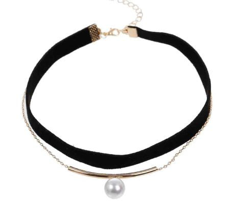 Black Velvet Layered Choker