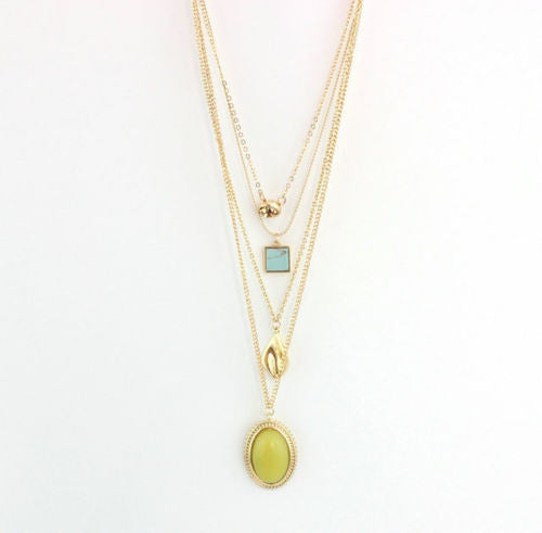 Lemon Jade Drop Layered Necklace