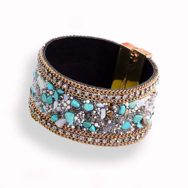 Mermaid Crystal Cuff - turquoise sea